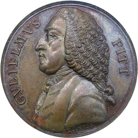 Betts medal 516. William Pitt; Repeal of the Stamp Act.