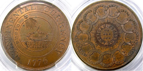 DM Rare Coins original article describes Dickeson Continental Currency Dollar, HK-853. Image courtesy of DM Rare Coins coin photography service.