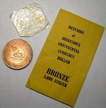 DM Rare Coins displays original packageing from the 1962 Bashlow Continental Currency Dollar Restrike, HK-853A.