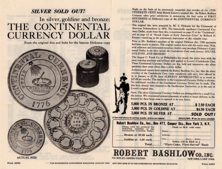1962 Bashlow advertisement. The Numismatic Scrapebook.