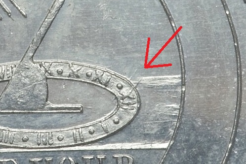 Die clashing found on all post-1876 issues of Dickesons Continental Currency Dollar