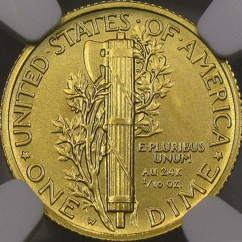 DM Rare Coins coin photography service depicts a 100th anniversary Mecury dime certified by NGC.