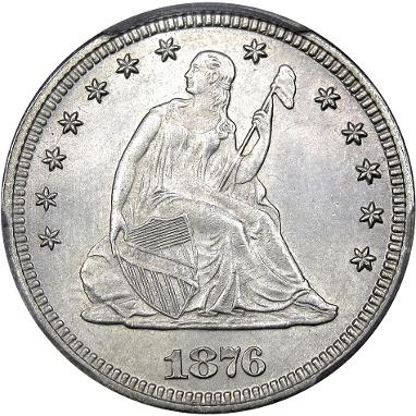 1876 MPD Flynn-004 Seated Liberty quarter Misplaced Date, courtesy DM Rare Coins coin photography service.