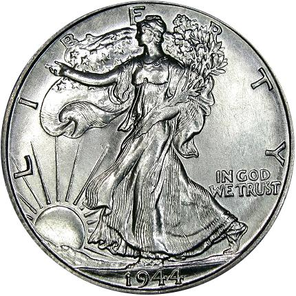 1944-D Re-engraved Design Semi - Prooflike Walking Liberty Half Dollar. Courtesy DM Rare Coins coin photography service.