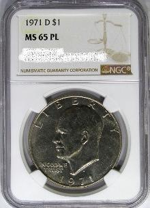 NGC certifies first 1971-D Prooflike Eisenhower dollar. Images courtesey of DM rare Coins coin photography service.