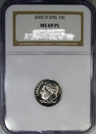 NGC PL Prooflike Roosevelt Dime from Satin Finish set. NGC MS69PL