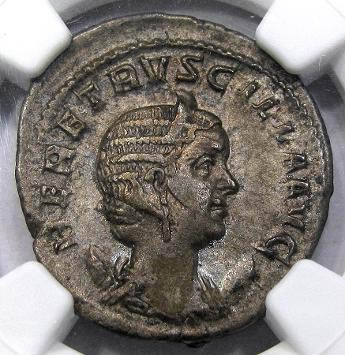 Obverse Herennia Etruscilla Anchient Roman Overstrike. Image courtesy DM Rare Coins coin photography service.