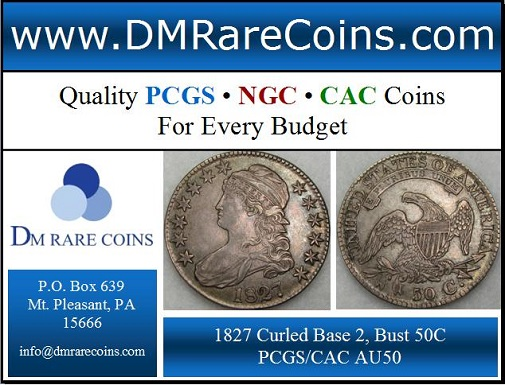 DM Rare Coins offers capped bust half dollars such as this 1827 Overton 146 Curled Base 2 PCGS and CAC AU50. We offer a nice selection of other rare coins and medals, such as cherrypicker's guide doubled die coins and prooflike coins. DM Rare Coins also specializes in coin photography services at a great price!