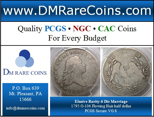 DM Rare Coins offers rare coins like this PCGS graded 1795 Flowing Hair half dollar, die varieties and doubled die varieties form the Cherrypicker's guide, prooflike coins, betts medals, seated liberty coins and capped bust halves